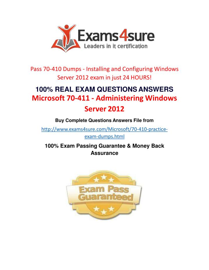 Pass 70-410 Dumps - Installing and Configuring Windows Server 2012 exam in just 24