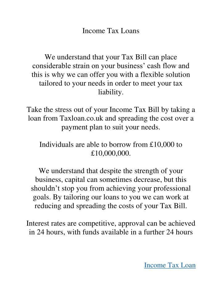 Income Tax Loans