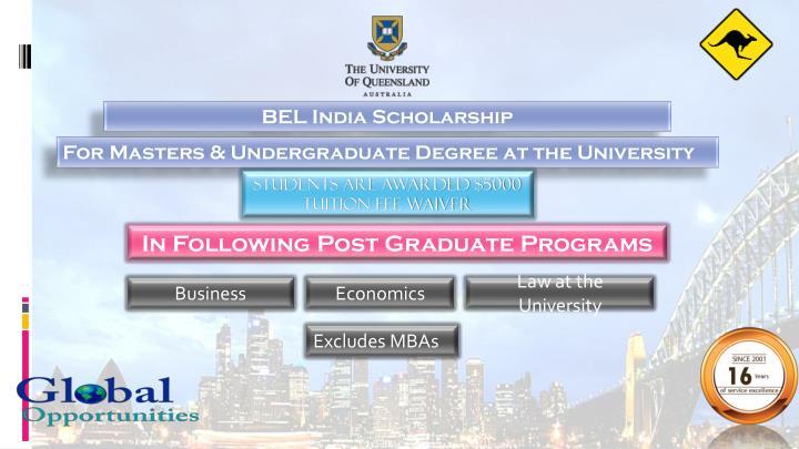 BEL India Scholarship