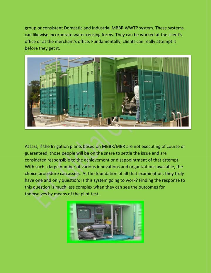 Group or consistent Domestic and Industrial MBBR WWTP system. These systems