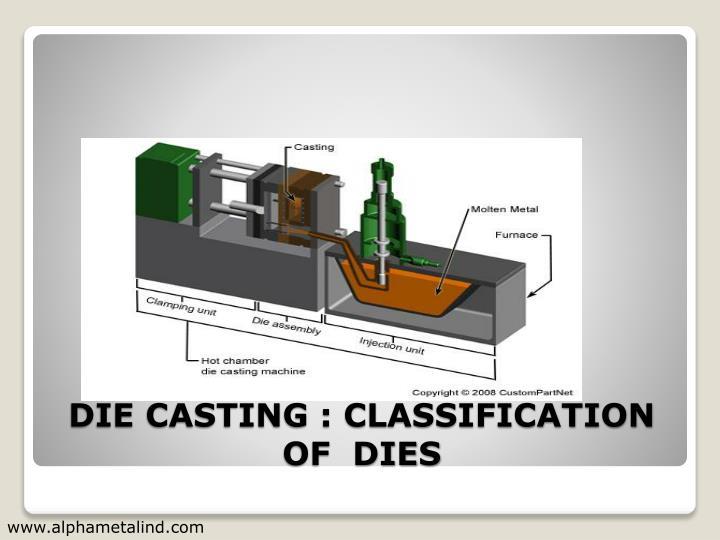 Die casting classification of dies