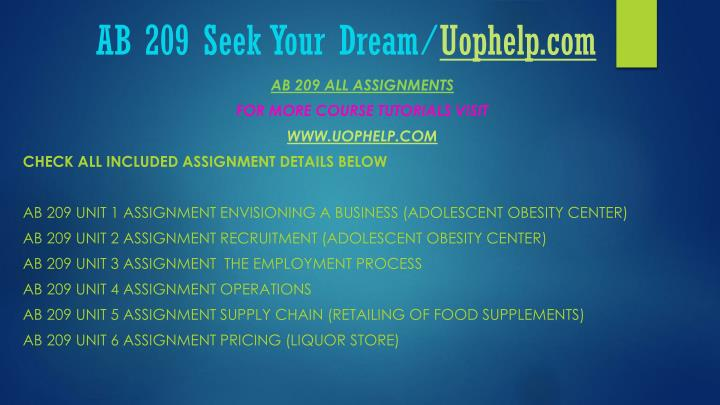 Ab 209 seek your dream uophelp com1