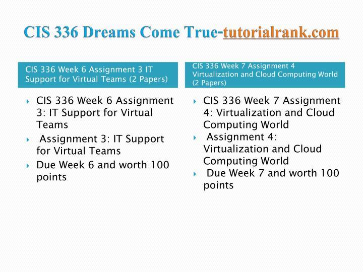 CIS 336 Dreams Come True