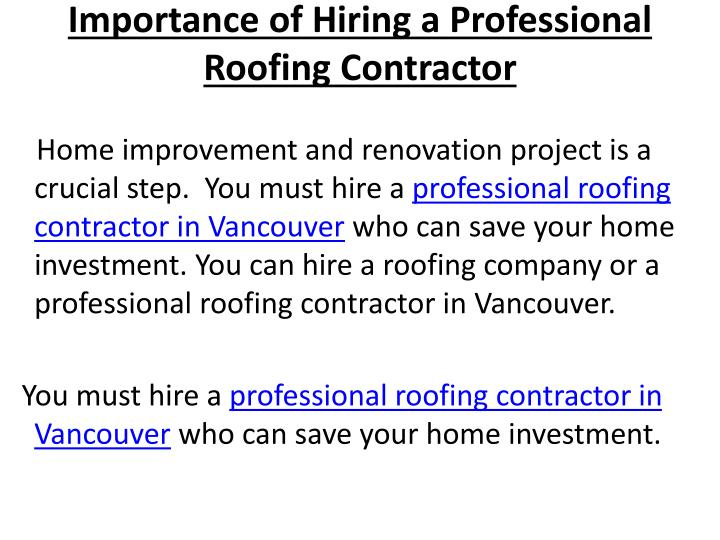 importance of hiring a professional roofing contractor