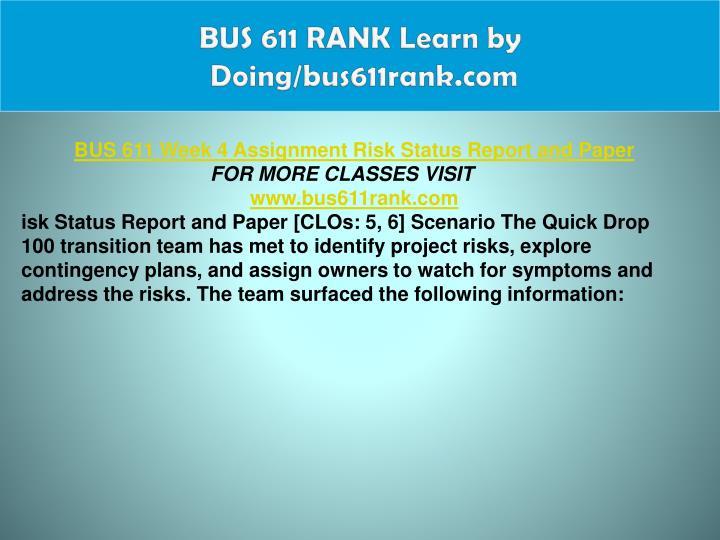 BUS 611 RANK Learn