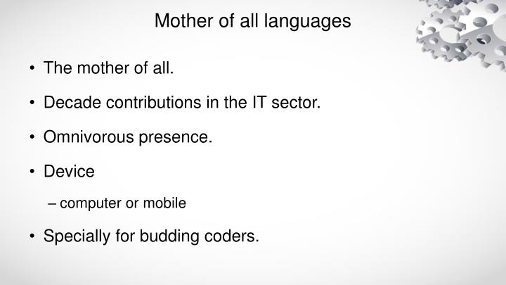 Mother of all languages