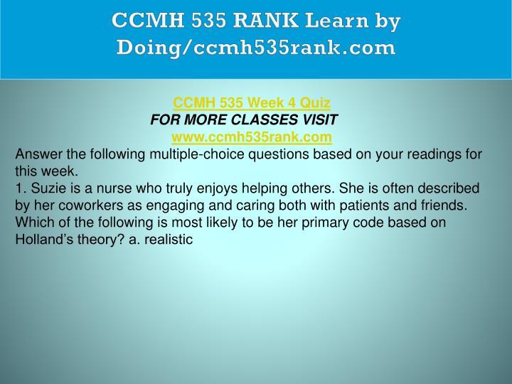 CCMH 535 RANK Learn by Doing/ccmh535rank.com