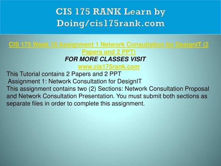 CIS 175 RANK Learn by Doing/cis175rank.com