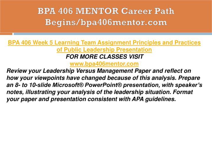 BPA 406 MENTOR Career Path Begins/bpa406mentor.com