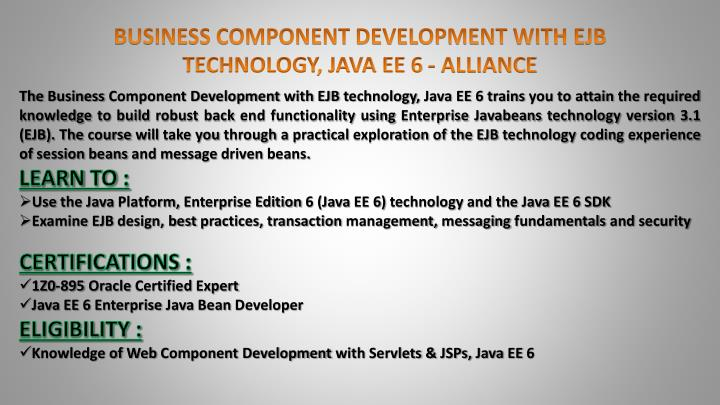 BUSINESS COMPONENT DEVELOPMENT WITH EJB TECHNOLOGY, JAVA EE 6