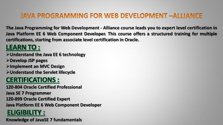 JAVA PROGRAMMING FOR WEB DEVELOPMENT –ALLIANCE