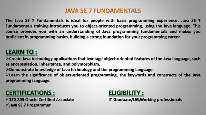 JAVA SE 7 FUNDAMENTALS