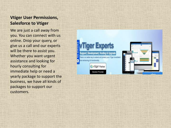 Vtiger user permissions salesforce to vtiger