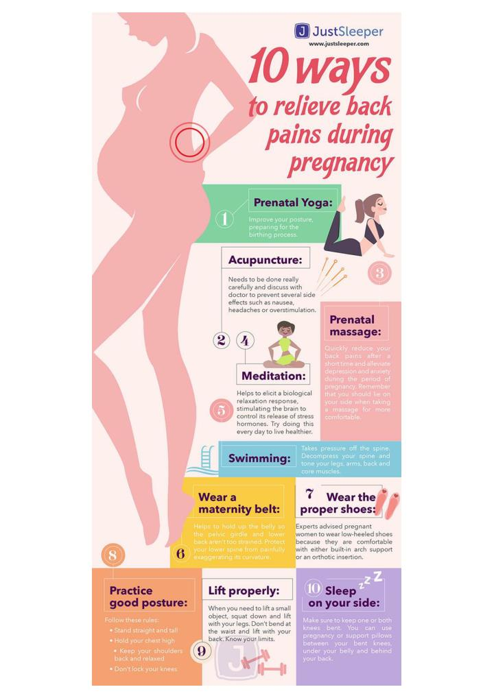 10 ways to relieve back pains during pregnancy