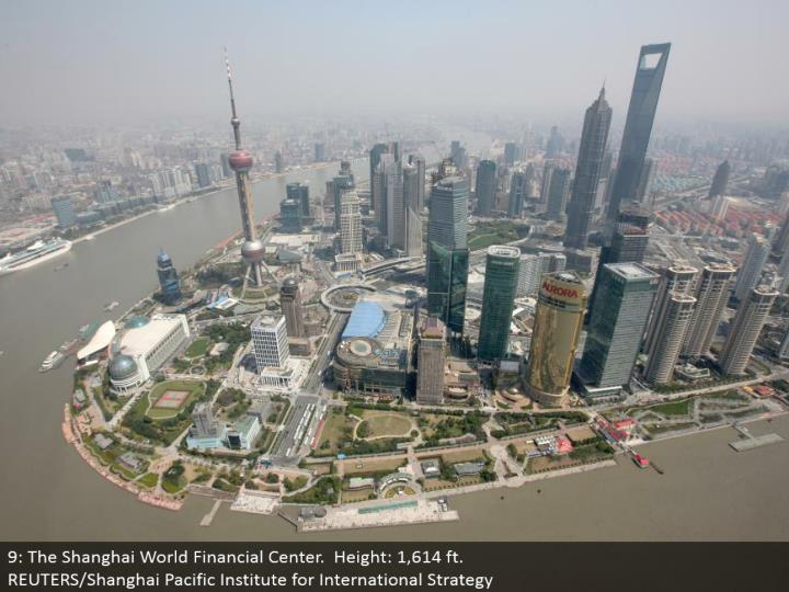 9: The Shanghai World Financial Center. Stature: 1,614 ft.  REUTERS/Shanghai Pacific Institute for International Strategy