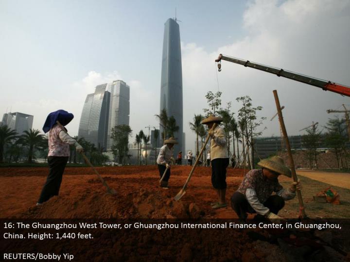 16: The Ghuangzhou West Tower, or Ghuangzhou International Finance Center, in Ghuangzhou, China. Stature: 1,440 feet.  REUTERS/Bobby Yip