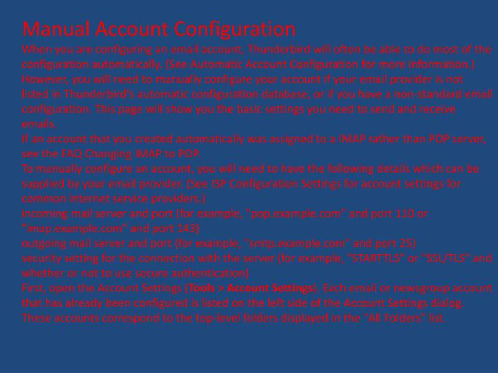 Manual Account Configuration