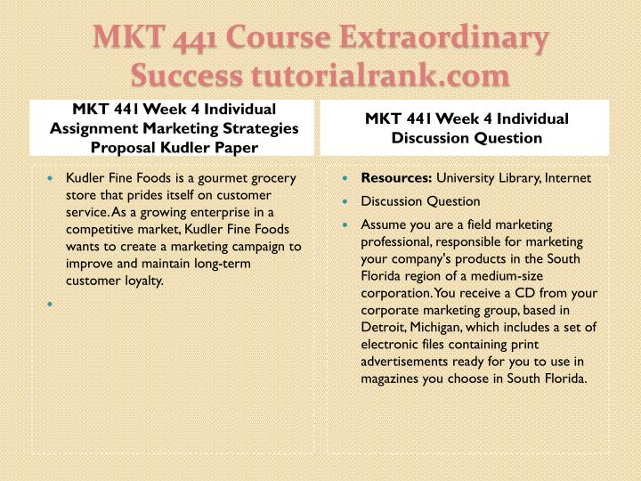 MKT 441 Week 4 Individual Assignment Marketing Strategies Proposal Kudler Paper