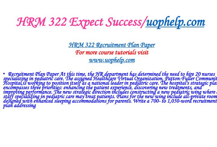 HRM 322 Expect Success/