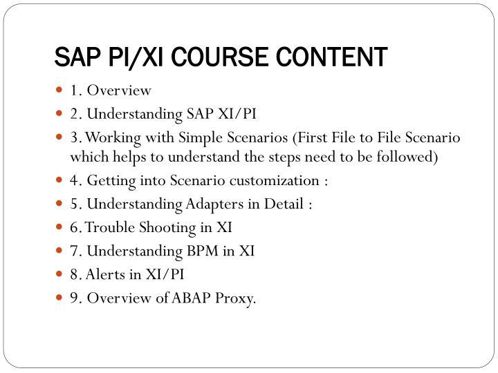 SAP PI/XI COURSE CONTENT