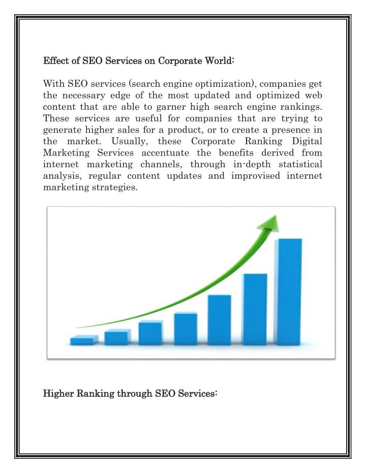 Effect of SEO Services on Corporate World: