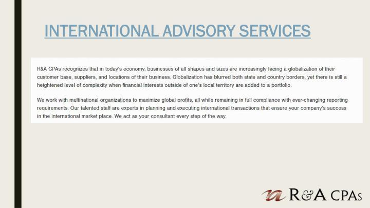 INTERNATIONAL ADVISORY