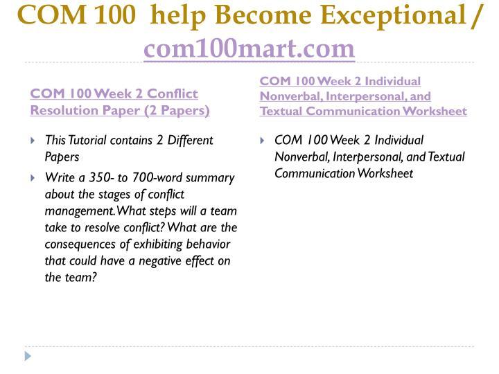 Com 100 help become exceptional com100mart com2