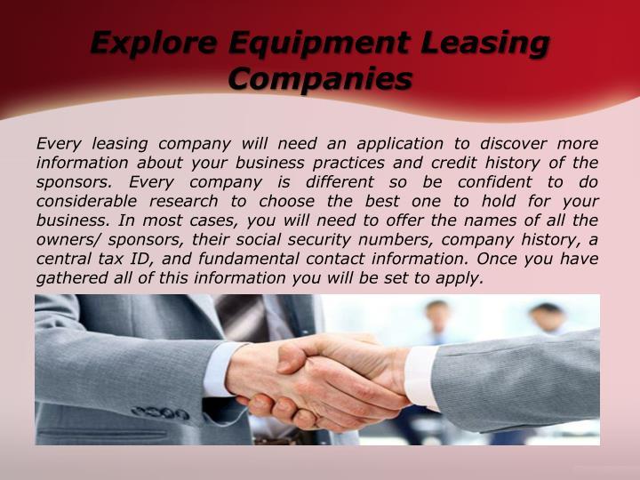 Explore Equipment Leasing Companies