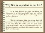 why sex is important in our life