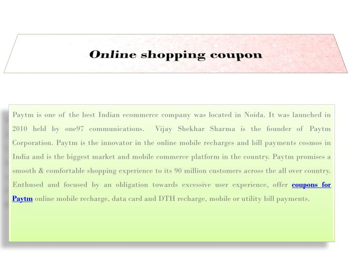 Online shopping coupon
