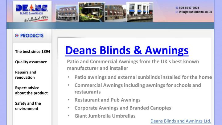 Deans blinds awnings