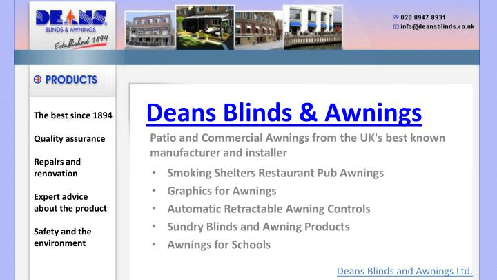 Deans blinds awnings1