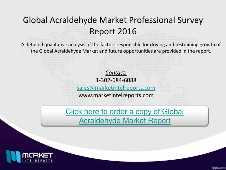 Global Acraldehyde Market Professional Survey Report 2016
