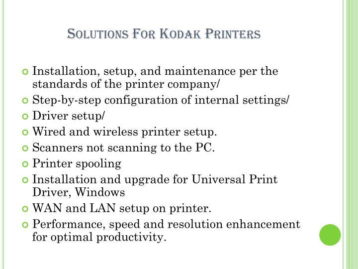 Solutions for kodak printers