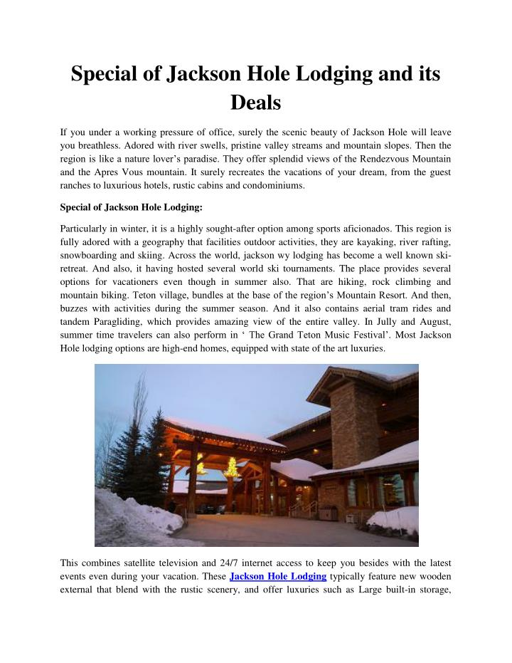 Special of Jackson Hole Lodging and its