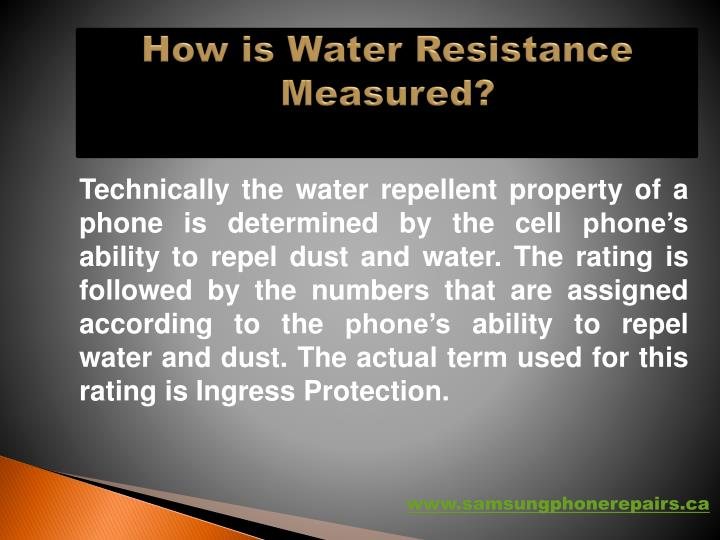 How is water resistance measured