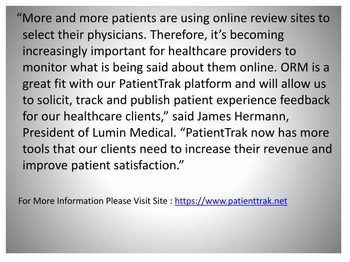 """""""More and more patients are using online review sites to select their physicians. Therefore, it'..."""