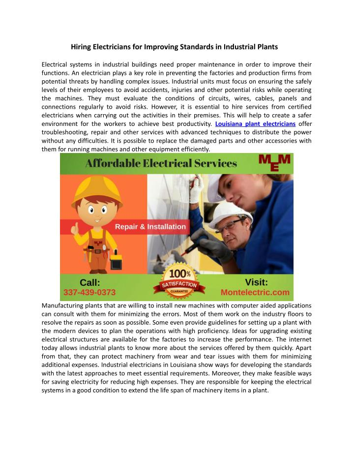 Hiring Electricians for Improving Standards in Industrial Plants
