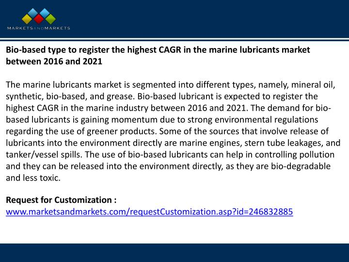 Bio-based type to register the highest CAGR in the marine lubricants market between 2016 and