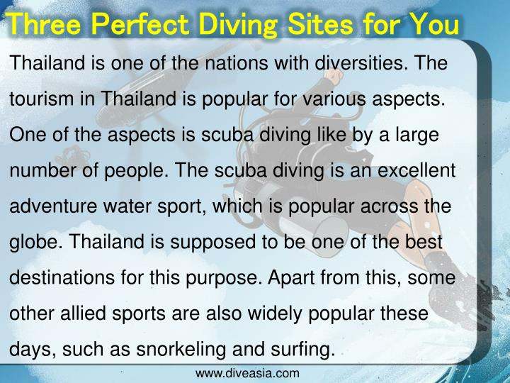 Three Perfect Diving Sites for You