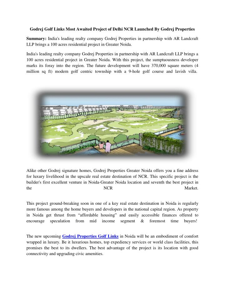 Godrej Golf Links Most Awaited Project of Delhi NCR Launched By Godrej Properties