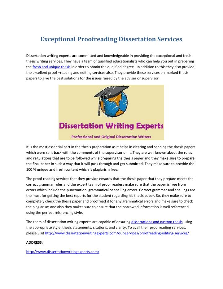 Exceptional Proofreading Dissertation Services