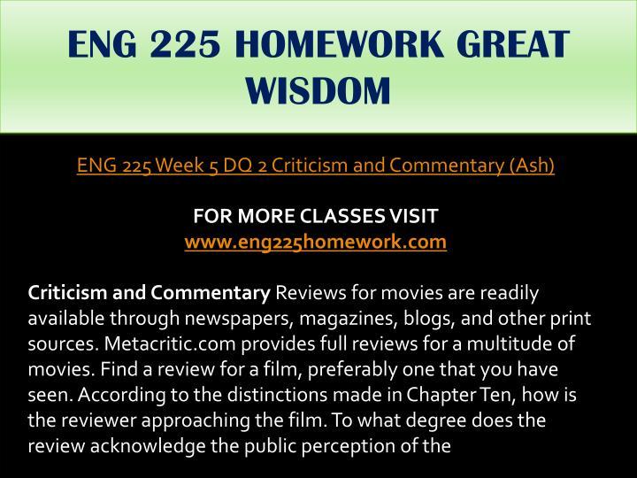ENG 225 HOMEWORK GREAT WISDOM