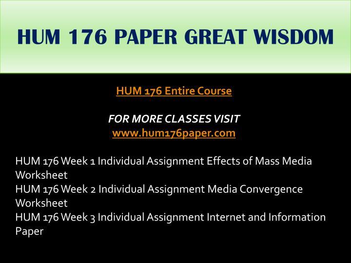 HUM 176 PAPER GREAT WISDOM