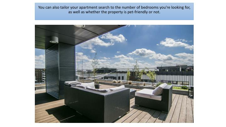 You can also tailor your apartment search to the number of bedrooms you're looking for,