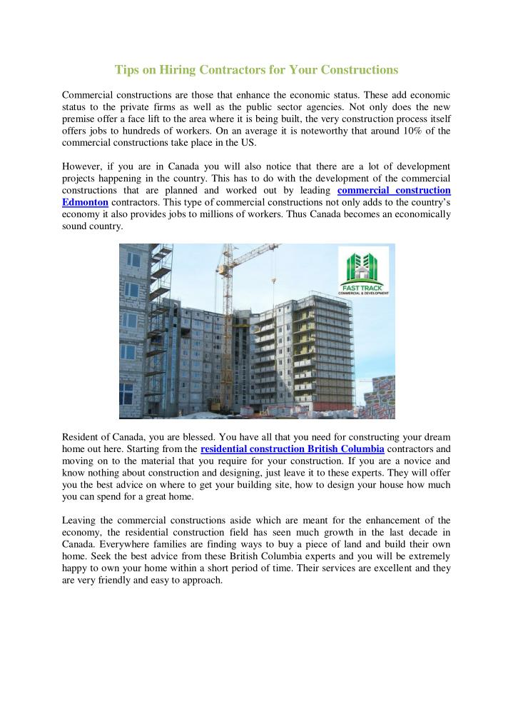 Tips on Hiring Contractors for Your Constructions