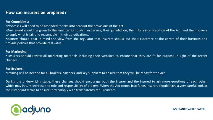How can insurers be prepared?