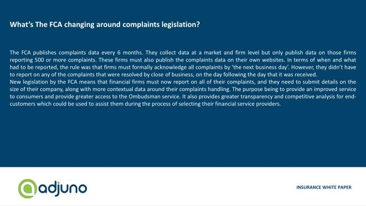 What's The FCA changing around complaints legislation?