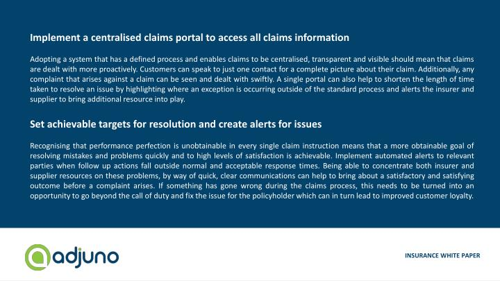 Implement a centralised claims portal to access all claims information