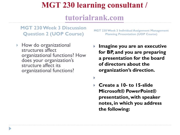 MGT 230 learning consultant /